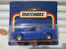 Matchbox Rare German Issue 1988 MB15F/22F Blue SAAB 9000 TURBO Nu in C9 BubblePk