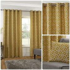 """Sundour """"Kelso"""" Geometric Mosaic Fully Lined Eyelet Ring Top Curtains Ochre"""