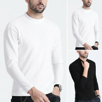 Mens Thermal Underwear Top Long Sleeve Johns T-shirt Sleepwear Warm Winter Shirt