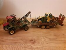 """VINTAGE WELL BUILT MECCANO. 'Recovery truck and trailer + car  model ,19""""LONG"""