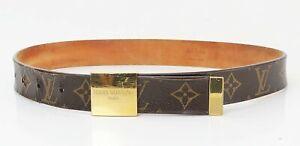 Authentic LOUIS VUITTON Monogram Leather Belt #40691