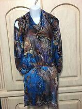 NWT Roberto Cavalli Print Dolman Sleeve Gathered Short Dress Size A