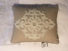 """WATERFORD LINENS """"HARRISON"""" NATURAL 20"""" x 16"""" DECORATIVE PILLOW [NEW]"""