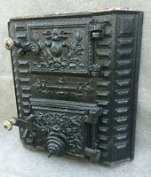 Heavy antique french stove front with doors 19th century cast iron nice details