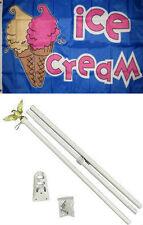3x5 Advertising Ice Cream Cones Blue Flag White Pole Kit Set 3'x5'