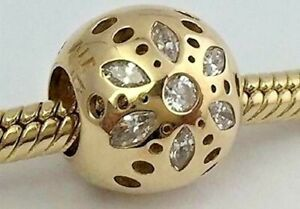 PANDORA   14K GOLD SPARKLING BLOOM CHARM ✪NEW✪ 750826CZ RARE RETIRED FLOWER CZ