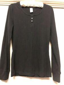 Womans Love to Lounge Size 10-12 Black Long Sleeve Top with Buttoned Neck Detail