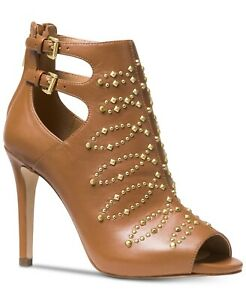 Michael Kors Womens Jordana Leather Acorn Brown Open-Toe Ankle Booties Size 7