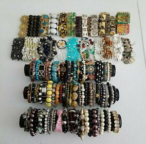 Lot 100 Stretch Bead Bracelets Wear Craft Harvest Pearl Rhinestone Southwest ~