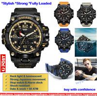 SMAEL Men Sports Watch Digital LED Quartz Wristwatch Waterproof Multi-function