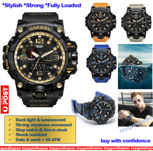 SMAEL Mens Sports Watch Digital LED Quartz Wristwatch Waterproof Multi-function