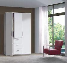 White Modern Serena 3 Door 3 Drawer Combi Triple Wardrobe Veneer Melamine