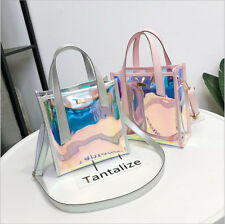 Fashion Women Hologram Clear Bags Tote Transparent Messenger Handbag + Inner Bag