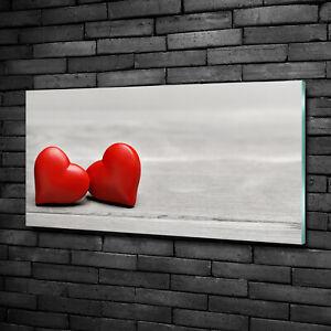 Tulup Acrylic Glass Print Wall Art Image 100x50cm - Hearts on the wood