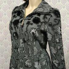 Salvatore Ferragamo Womens Jacket Size US 12 Gray Flocked Velvet Zip Front Italy