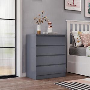 Grey Chest of Drawers Bedside Table Cabinet 4 Drawer Bedroom Storage Furniture