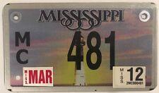 MS LOW NUMBER MOTORCYCLE 481 license plate 3 Digit Biking Harley Motorbike Rider