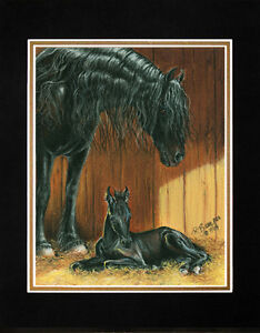 """Matted 8"""" x 10"""" Friesian Horse Art Print """"Standing By"""" by Artist Roby Baer PSA"""