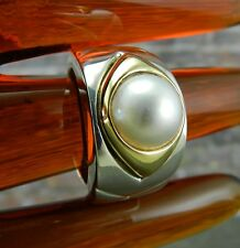 Vintage Omar Torres - 18K Yellow Gold & Sterling Silver Pearl Ring