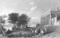GEORGE WASHINGTON HOUSE MOUNT VERNON PALLADIAN MANSION, 1838 Art Print Engraving