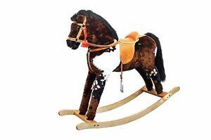 Solido cavallo a dondolo pezzato per bambini da 3 anni e solidi finimenti 96-111