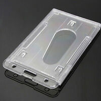 2Stück Vertikale Hartplastik ID Holder Doppel Karte Multi Transparent Klar X0K6