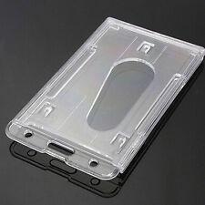 2Pcs Vertical Hard Plastic ID Badge Holder Double Card Multi Transparent Clear 2