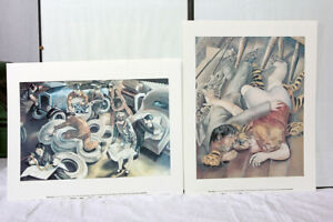 Stanley Spencer 2 x Art Prints From 2001 The Garage And  On The Tiger Rug VGC!