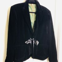Seven 7 Black Silk Rayon Velvet Jacket Plus Sz 1X Blazer Ribbon Ties Lined EUC