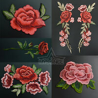 Embroidered Rose Flower Applique Badge Floral Collar Sew On Patch Dress Craft