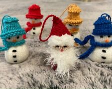 Hand Knitted Christmas Snowman/ Father Christmas Tree Novelty  Decoration