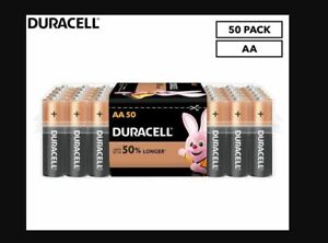 Duracell AA Batteries Copper Top Long-lasting New Genuine Alkaline Power 50 Pack