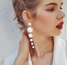 Unique Lady Elegant Big Simulated Pearl Long Tassel Statement Dangle Earring