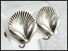 Vintage .925 Sterling Silver, Petite Decorative Shell Earrings - Screw Backs