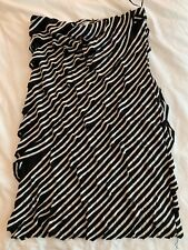 Francesca's Closet (Poema) Black & White Striped Strapless Stretch Dress Sz Med