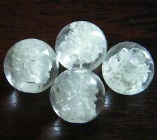 "30pcs 8mm Round ""Glow-in-the-Dark"" Glass Beads - Translucent White"