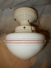 Original Art Deco Globe with Red Stripe Design on Streamlined Porcelain Fitter