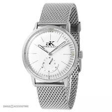 NEW Adee Kaye AK9044-MSV Men Adore Round Silver White Dial mesh Auto Watch