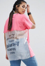 ASOS CURVE Pink & Sheer T-Shirt w/ Cut About Varsity Print Size 18 1X BRAND NEW