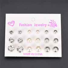 Vintage 9 Pair Rhinestone Pearl Earrings Set Fashion Ball Earrings Jewelry Set P