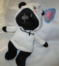 "BLACK TEDDY BEAR WHITE GHOST HOODIE Plush 2016 SUGARLOAF  14"""