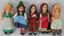 Lot of 5 Dolls with Sleepy Eyes Different National Dresses