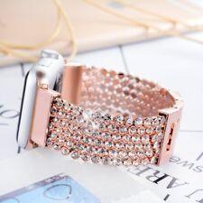 For Apple Watch Bracelet Band Rose Gold Rhinestones Adjustable Metal iWatch 38mm