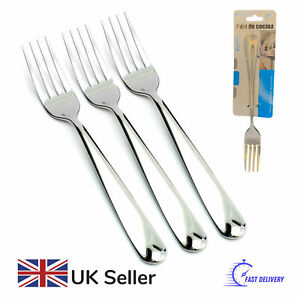 Table Fork Set of 3 Quality Stainless Steel Dinner Forks in Silver