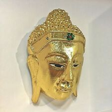 VINTAGE LARGE WOOD CARVED BUDDHA FACE MASK WALL SCULPTURE HOME DECOR ANCIENT OLD