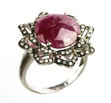 14k White Gold Red Ruby & Diamond Ring ( Dia 0.19cts) *