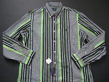 POLO RALPH LAUREN Men's Black/Green Striped Sateen Shirt L