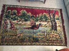 "Beautiful Vintage Woven  Pheasant  Rug Tapestry 48"" x 72"""