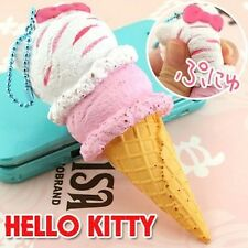 Hello Kitty Ice Cream Squishy SQUEEZE strap mascot phone Vanilla & strawberry