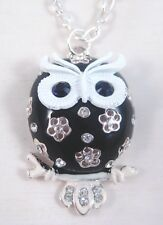"""New 28"""" Necklace With Black Owl Pendant Loaded With Rhinestones #N2050"""